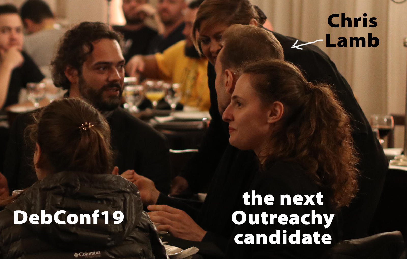 DebConf19, Chris Lamb, lamby, outreachy candidate, dinner date